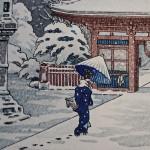 Estampe japonaise : détail de la gravure sur bois de Tsuchiya Koitsu