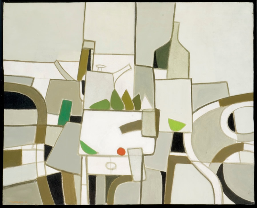 Nature morte, peinture de Michel Thompson 1989