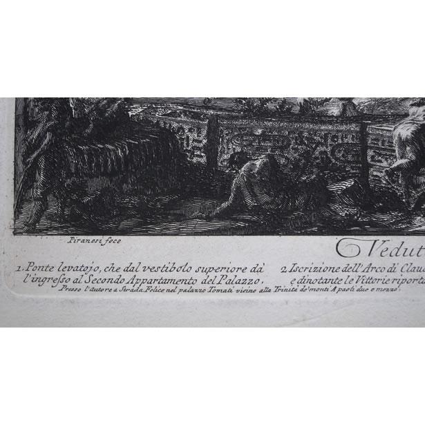 Détails de la gravure de Piranèse : l'adresse et le prix
