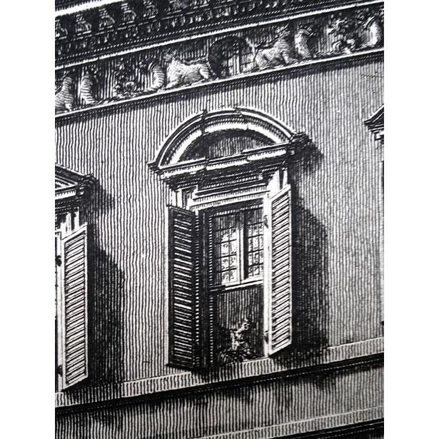 Piranesi : le palais Barberini à Rome - Détail d'une fenêtre