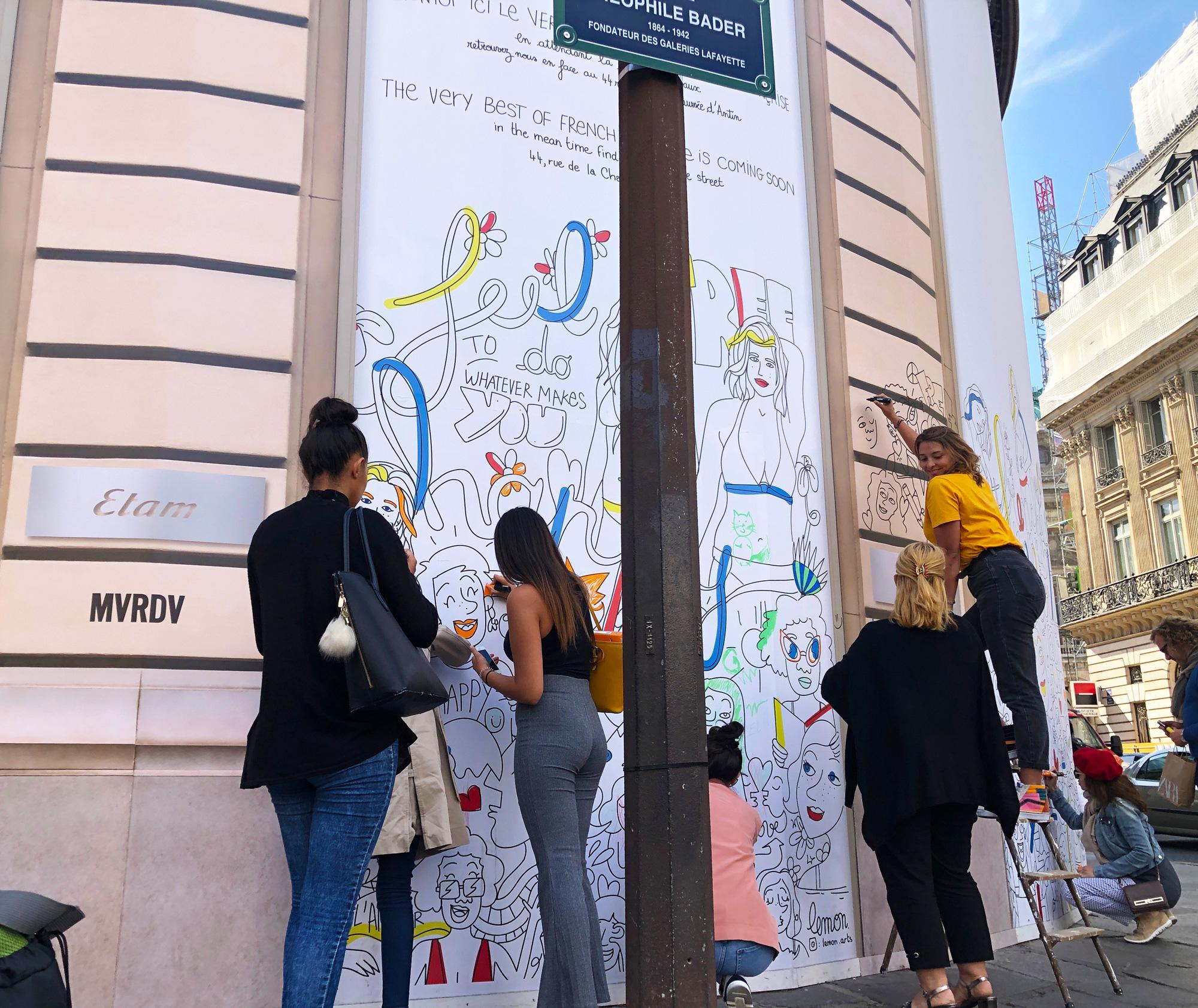Bâche Etam Paris Haussmann réalisée par l'artiste Lemon