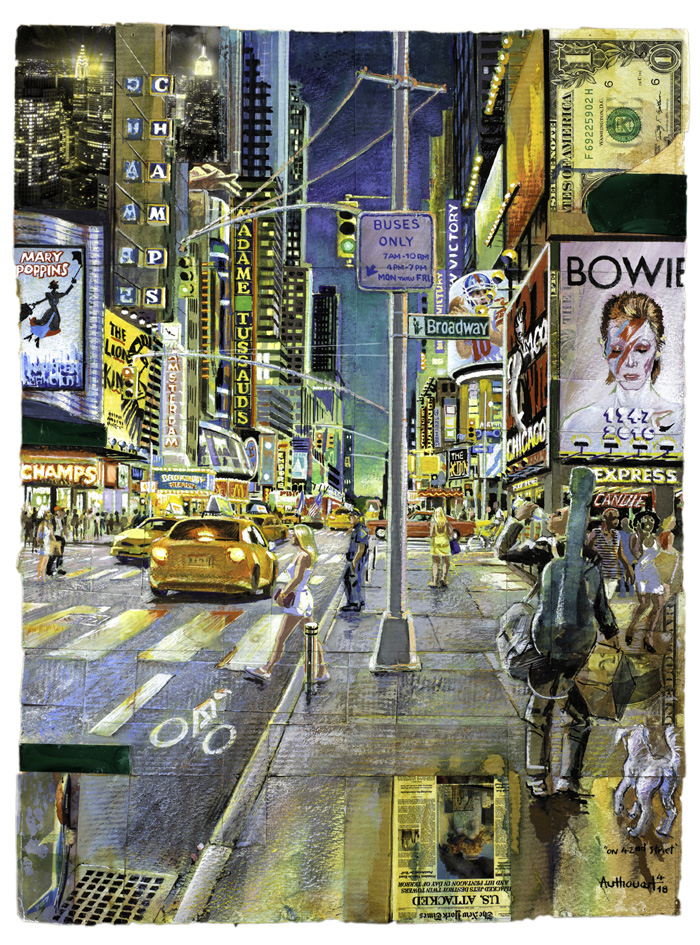 Daniel Authouart, On 42nd Street, gouache