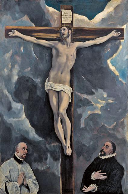 El Greco - Christ en croix adoré par deux donateurs