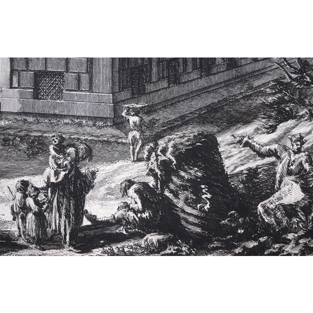 Détails de la gravure du palais Barberini à Rome de Piranèse