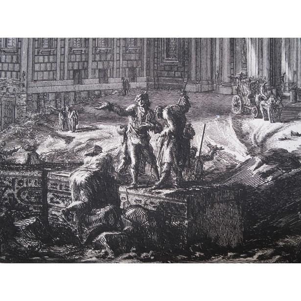 Détail de la gravure du palais Barberini à Rome : l'obélisque égyptienne brisé