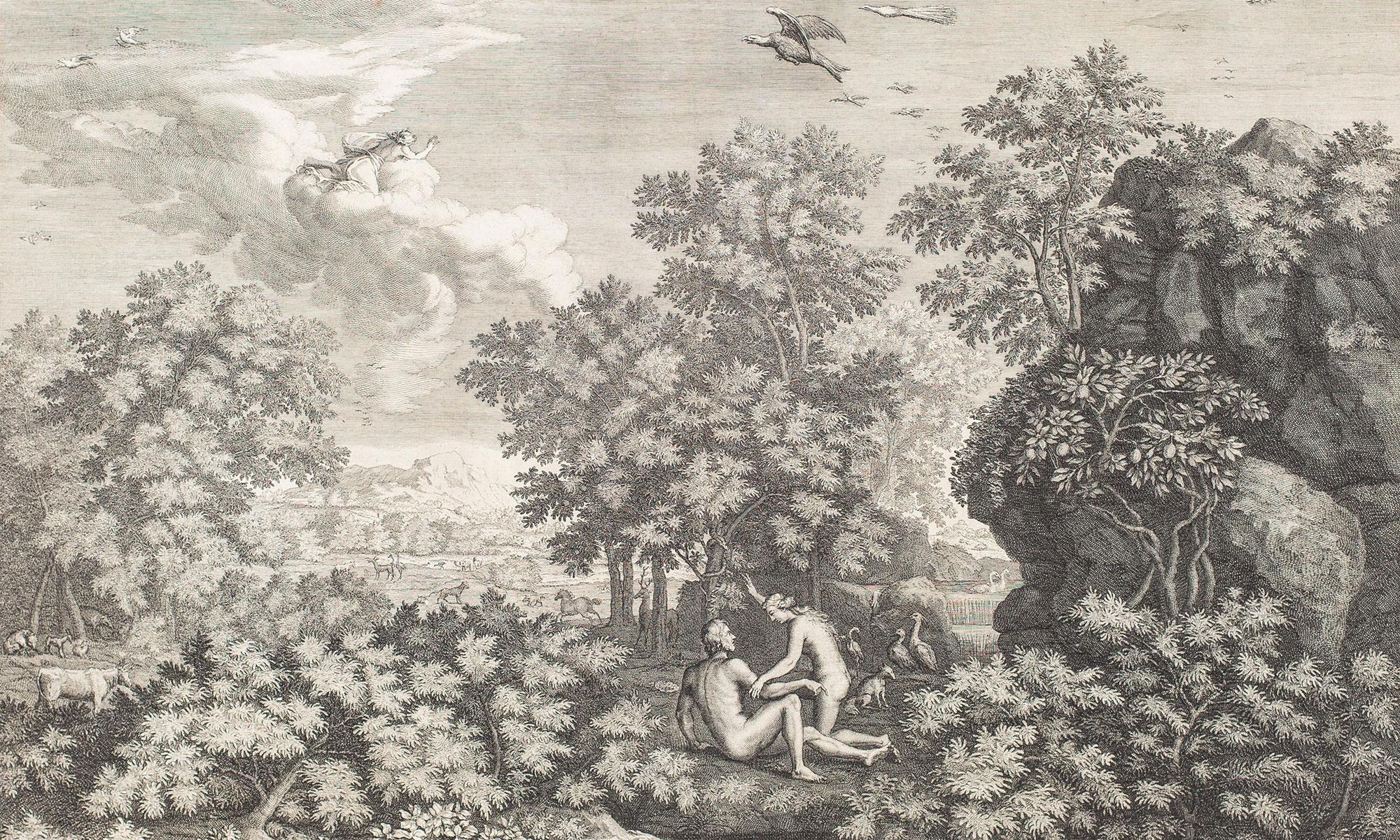 Le Printemps - Nicolas Poussin, gravure de Gérard Audran