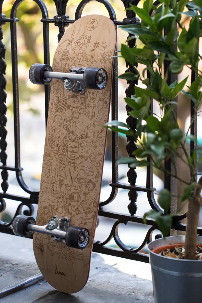 Verso du skate Achetez de l'Art (avec trucks)