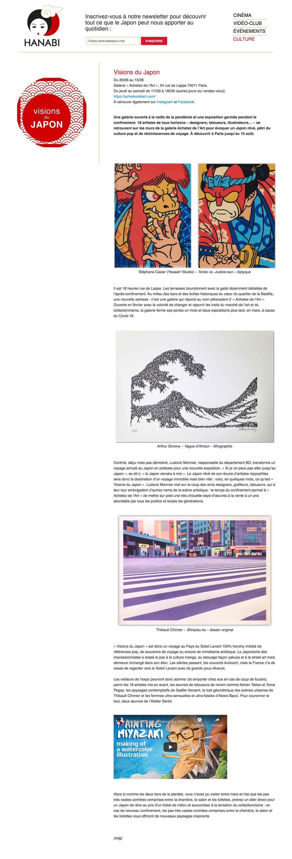 L'exposition Visions du Japon vue par Hanabi